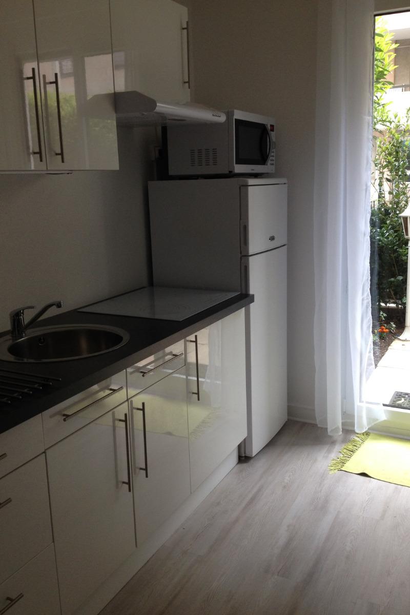 Espace cuisine, four micro-ondes multi-fonctions, réfrigérateur-congélateur, cafetière, bouilloire, grillepain, batteur électrique, - Location de vacances - Lyon