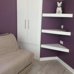 salon avec armoire penderie et étagères - Location de vacances - Lyon