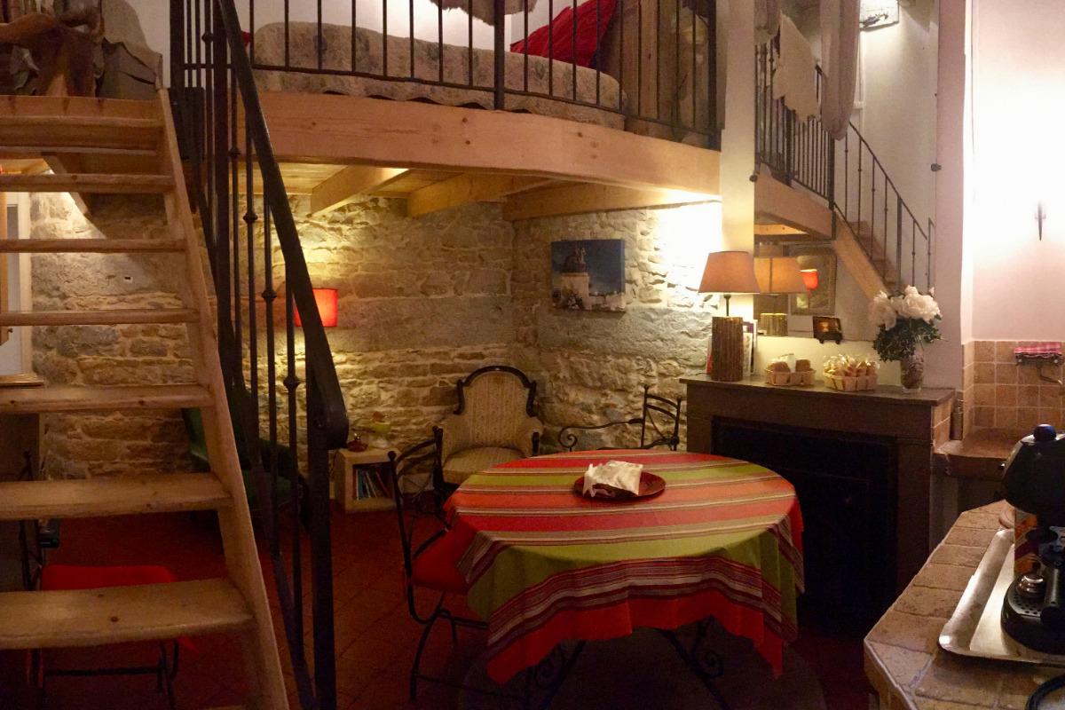 Vue générale des Allées de Bellecour côté cour.Salon, séjour, coin cuisine sur votre droite et chambre en mezzanine. - Chambre d'hôtes - Lyon
