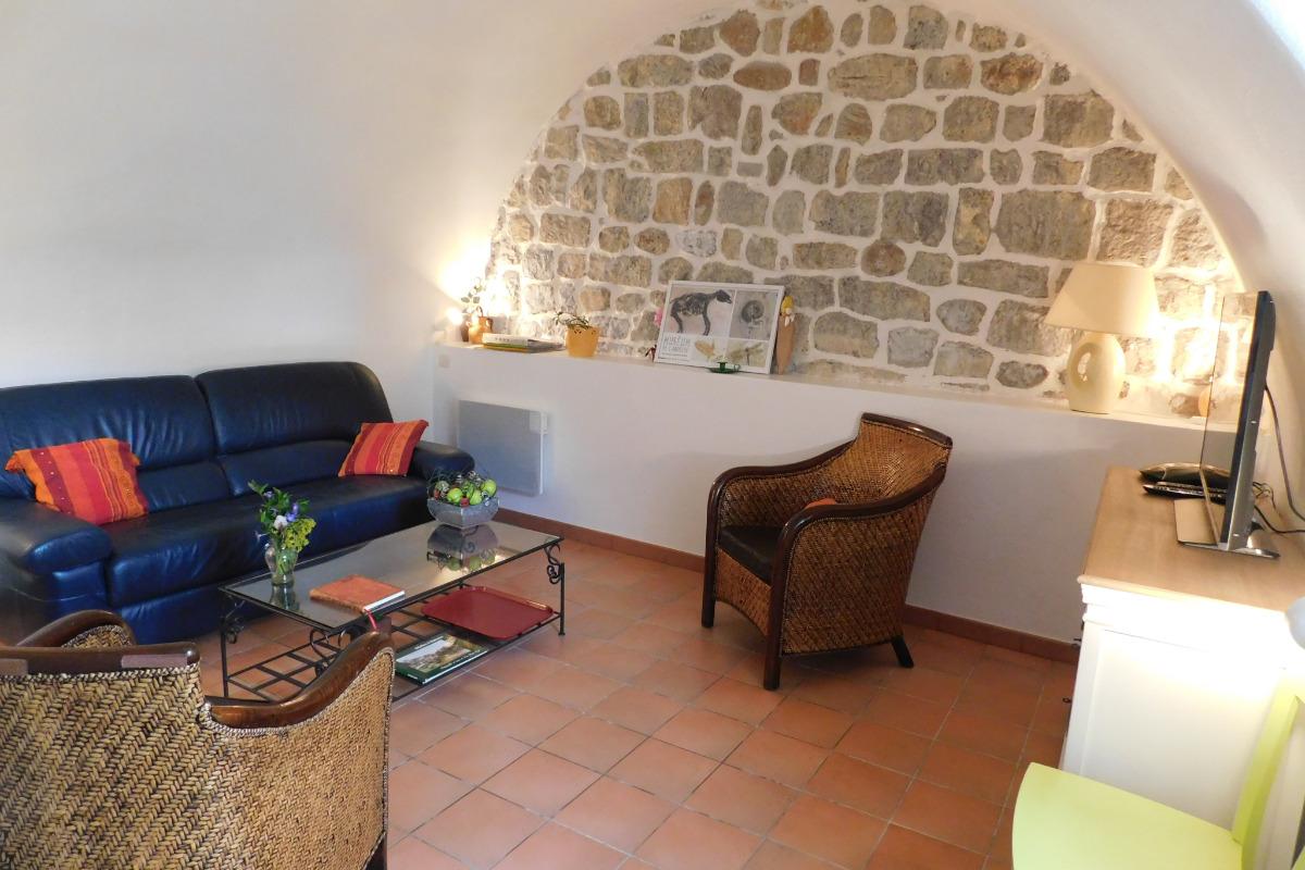 Terrasse ombragée avec vue sur l'Ardèche. - Location de vacances - Balazuc