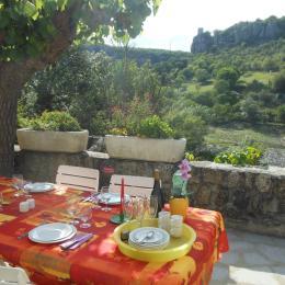 la terrasse ombragée avec vue sur l'Ardèche. - Location de vacances - Balazuc