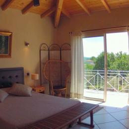 chambre sur terrasse et piscine  - Location de vacances - Labeaume