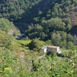 Vue d'ensemble du gîte.  Au second plan, la rivière le Doux avec au dessus la voie ferrée du Train de l'Ardèche ainsi que le Vélo-rail.  - Location de vacances - Colombier-le-Vieux