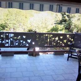 Vue à partir de la terrasse couverte sur montagne et parking au pied du logement - Location de vacances - Salavas