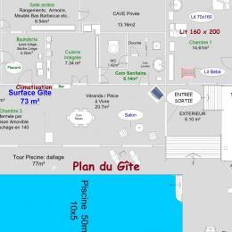 Plan du Gîte Piscine avec 3 marches,10 x 5 mètres - Location de vacances - Les Ollières-sur-Eyrieux
