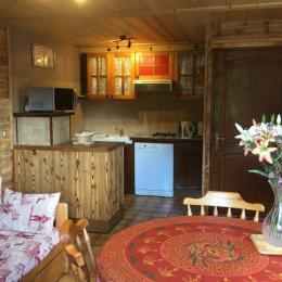 Chalet Lou Murgis - station de ski Saint Sorlin d'Arves en Savoie - domaine skiable Les Sybelles salon et coin cuisine - Location de vacances - Saint-Sorlin-d'Arves