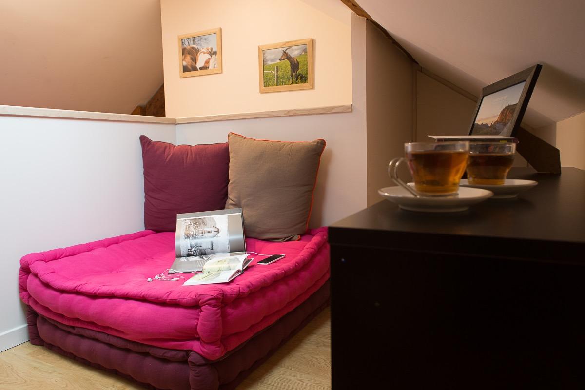 Espace salon-détente - Suite L'étoile à L'émeraude des Alpes, chambre d'hôtes du Désert en Chartreuse - Chambre d'hôtes - Entremont-le-Vieux
