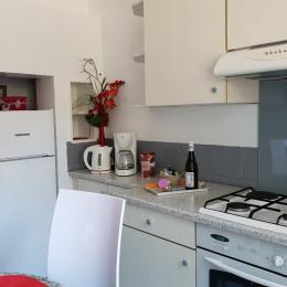 La cuisine, le frigo, le four et le gaz, le coin bouilloire, cafetière - Location de vacances - Aix-les-Bains
