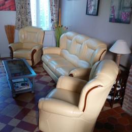 canapé fauteuils cuir jaune,,, - Location de vacances - Criel-sur-Mer