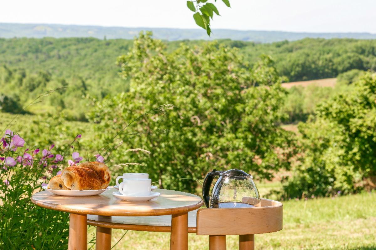 de la terasse du chalet castelnau de montmiral tarn occitanie pyrenees mediteranee - Location de vacances - Castelnau-de-Montmiral