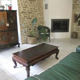 salon avec cheminée - Aussac - Tarn - Location de vacances - Aussac