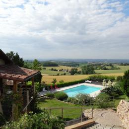 terrasse  gite et extérieurs avec piscine  - Cadalen - Tarn - Location de vacances - Cadalen
