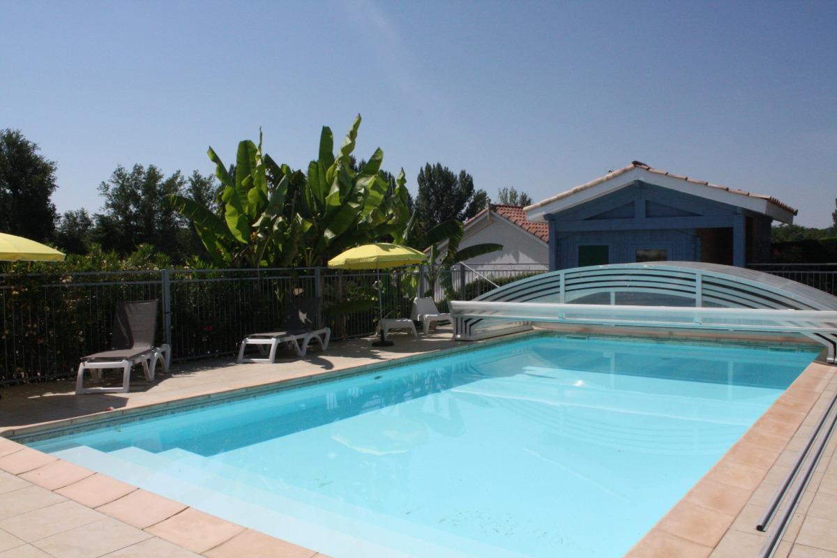 La piscine est entourée de végétation. - Location de vacances - Lafrançaise