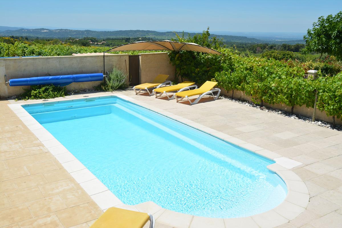 piscine avec vue sur la campagne  - Location de vacances - Bédoin