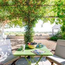 Terrasse studio vue jardin, vignes et piscine - Location de vacances - Violès
