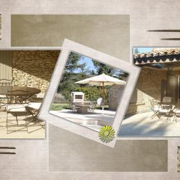 terrasse extérieure couverte vue sur la piscine, barbecuit plus coin à manger - Location de vacances - Gordes