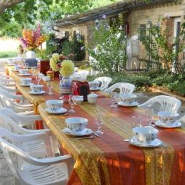 Petit déjeuner d'été en exterieur - Chambre d'hôtes - Châteauneuf-de-Gadagne