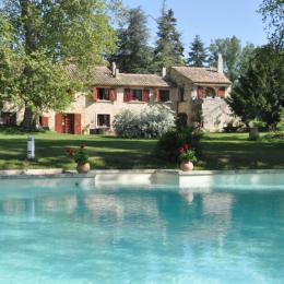Le jardin et la piscine du Moulin - Chambre d'hôtes - Visan