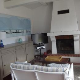 Salon avec cheminée avec insert - Location de vacances - L'Épine