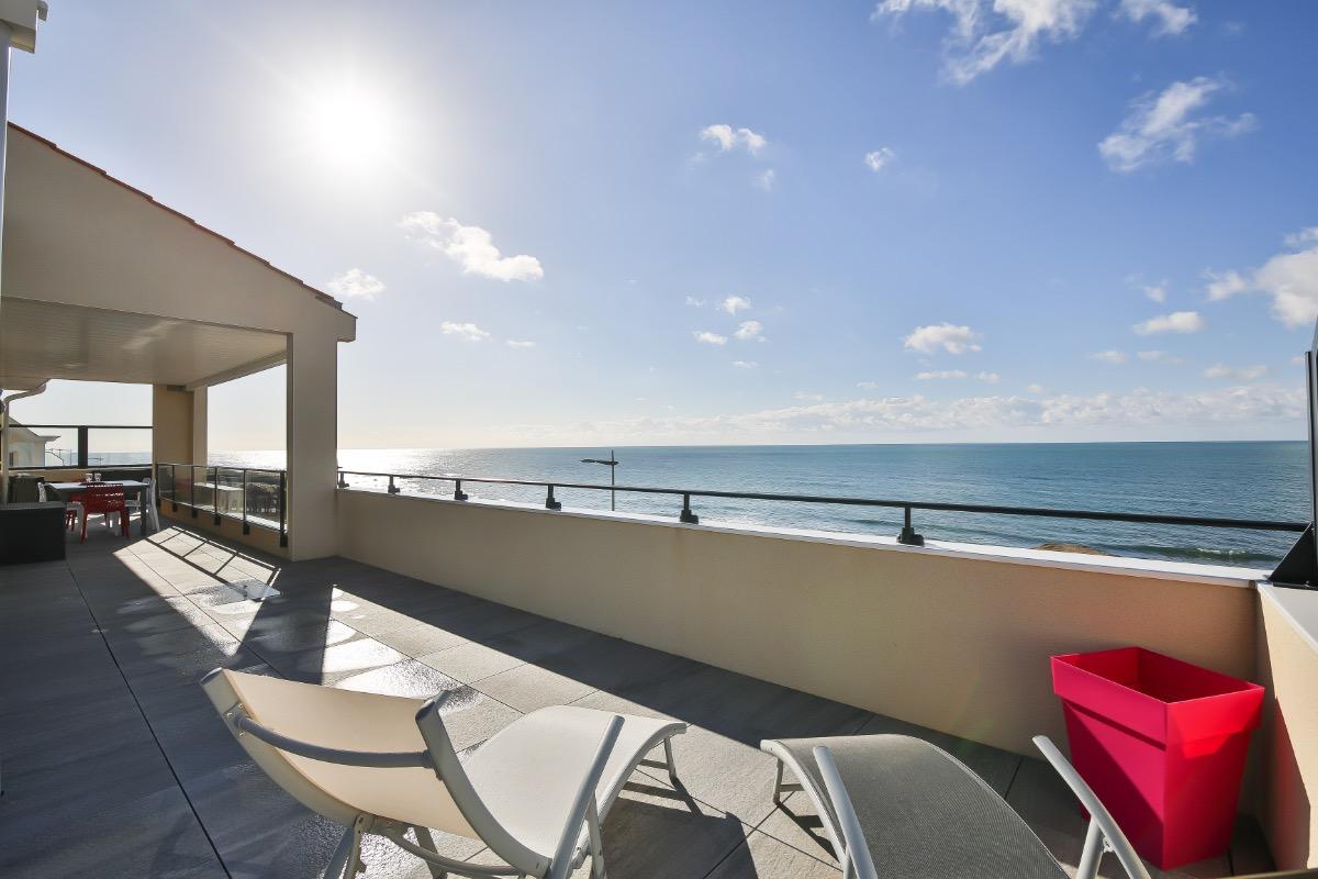 Terrasse 72m2 avec vue Océan dégagée - Location de vacances - Saint Hilaire de Riez