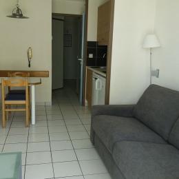 séjour avec coin cuisine et table à manger - Location de vacances - Talmont Saint Hilaire