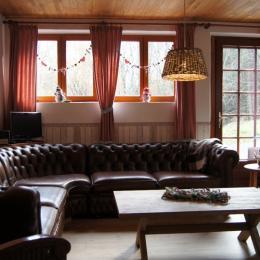 sejour/salon avec poele a bois, Bellevue, Vosges - Chambre d'hôtes - Ban-sur-Meurthe-Clefcy