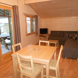 Pièce de vie avec télévision TNT et banquette lit - Location de vacances - La Bresse