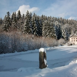 Paysage d'hiver - Apt. Violettes - Domaine Moulin des Courbières entre la Bresse et Gérardmer - Location de vacances - Gerbamont