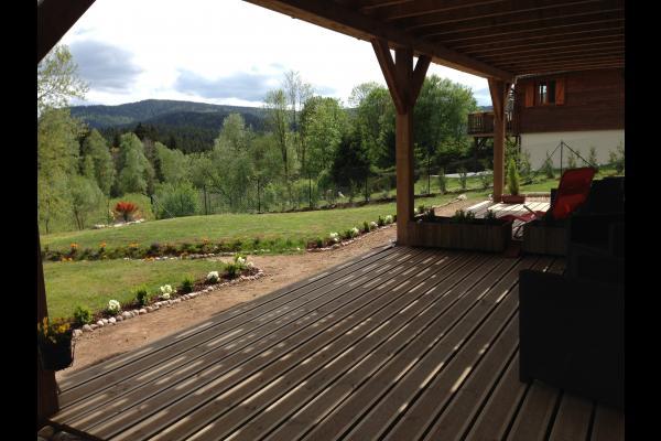Terrasse chambre privative 15 M2 vue jardin, forêt, massif Vosgien - Chambre d'hôtes - Xonrupt-Longemer