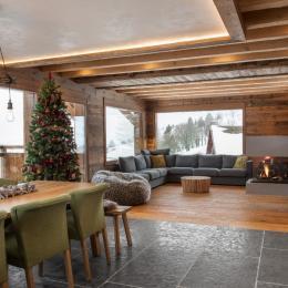 Séjour avec foyer gaz - Location de vacances - La Bresse
