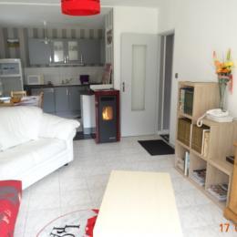 Salon avec poêle à granulés - Location de vacances - Couflens
