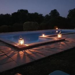 La piscine de nuit - Chambre d'hôtes - Rieucros