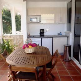 Coin cuisine/terrasse ouvert sur l'extérieur - Location de vacances - Saint-François